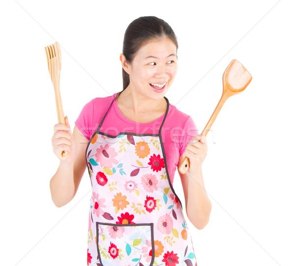 Cozinhar retrato animado feminino chef casa Foto stock © yongtick