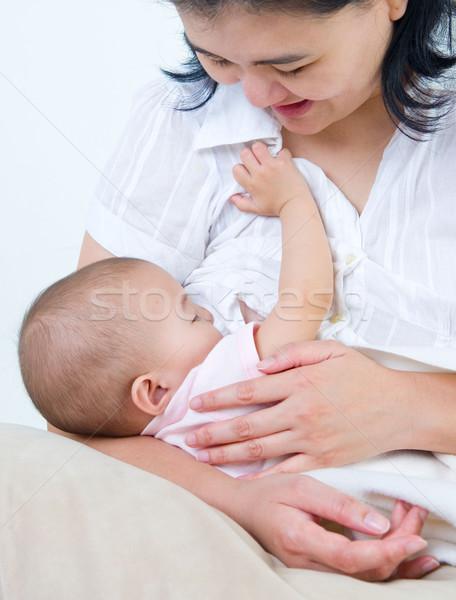Foto stock: Amamentação · asiático · mãe · menina · mulher · menina