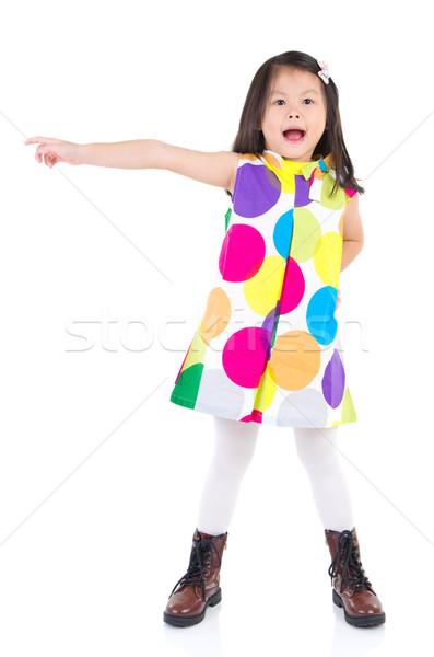 Asiático menina tiro mão indicação Foto stock © yongtick