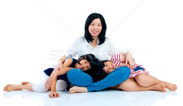 Asian familie moeder dochter meisje glimlach Stockfoto © yongtick