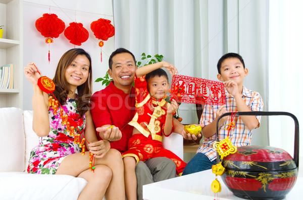 アジア 家族 を祝う 旧正月 女性 子供 ストックフォト © yongtick