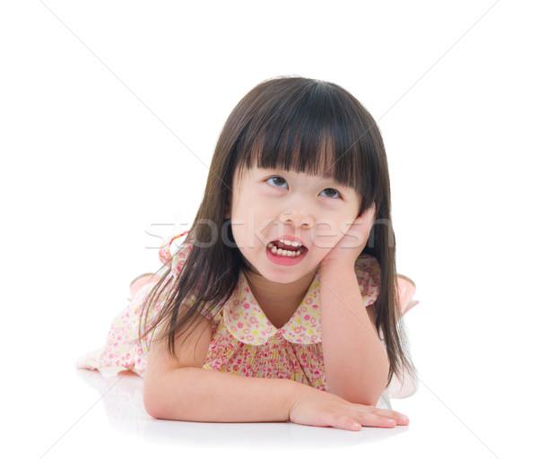 Asiático menina retrato sorrir criança educação Foto stock © yongtick