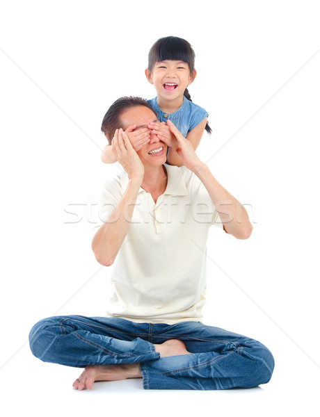 Asian famiglia padre figlia uomo bellezza Foto d'archivio © yongtick