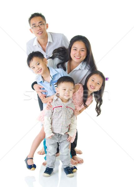 Asian familie portret kinderen man Stockfoto © yongtick