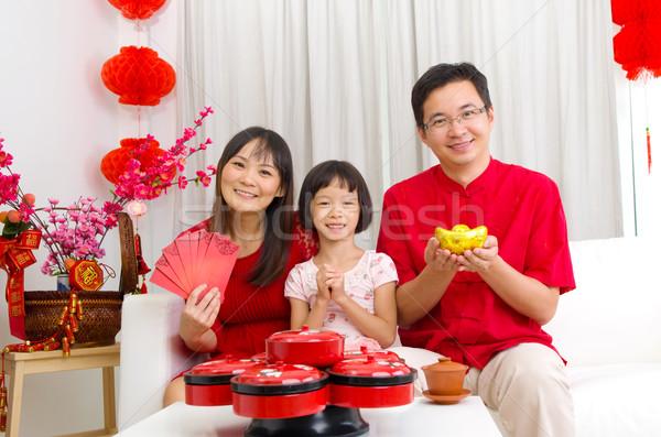 Asian familie vieren vrouw kind Stockfoto © yongtick
