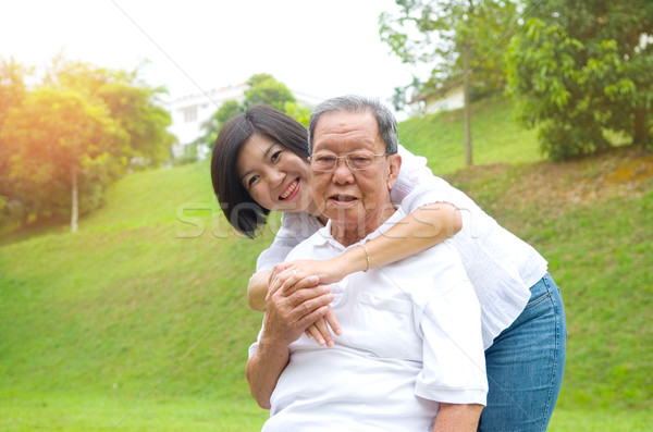 アジア 家族 シニア 男 娘 幸せ ストックフォト © yongtick