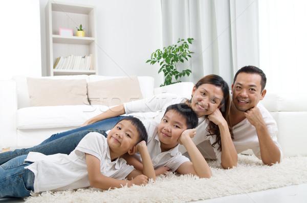 アジア 家族 階 笑みを浮かべて 女性 家 ストックフォト © yongtick