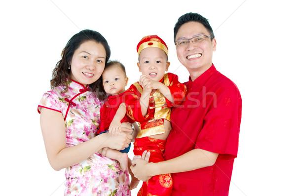 Asian familie vieren meisje kinderen Stockfoto © yongtick