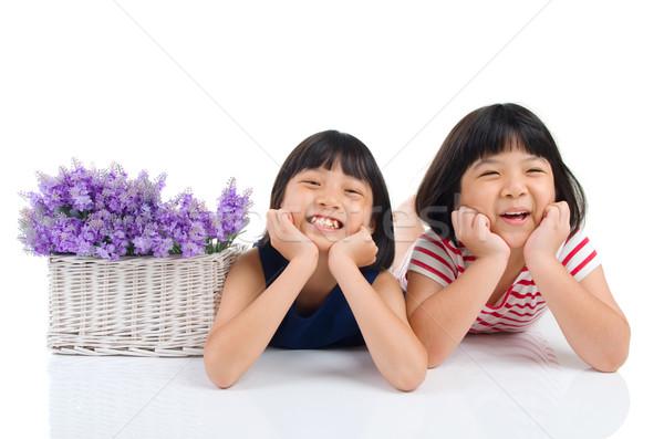 アジア 子供 肖像 女の子 花 子供 ストックフォト © yongtick