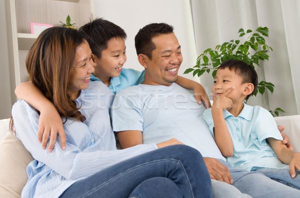 Asiático família retrato homem feliz Foto stock © yongtick
