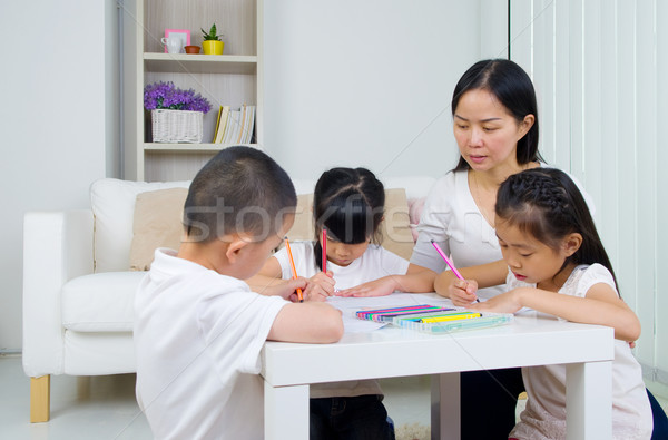 アジア 家族 学校 宿題 リビングルーム 子 ストックフォト © yongtick