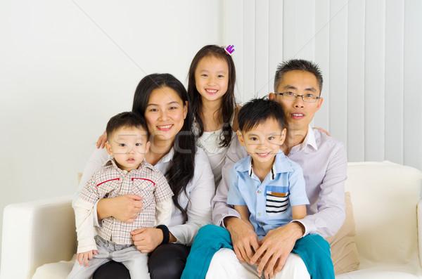 ázsiai család bent portré nő férfi Stock fotó © yongtick