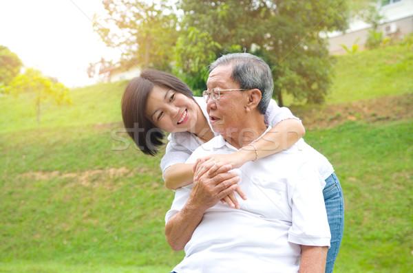 ázsiai család idős férfi lánygyermek boldog Stock fotó © yongtick