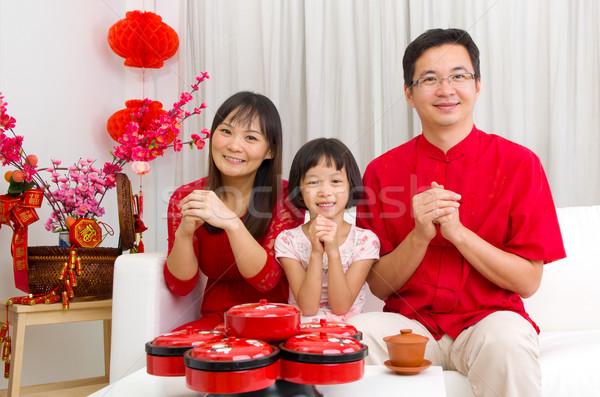 Ano novo chinês asiático família mulher criança Foto stock © yongtick
