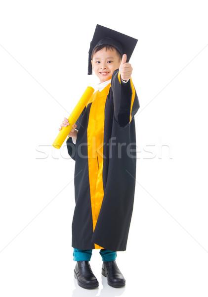 Asiático criança graduação vestido sorrir crianças Foto stock © yongtick
