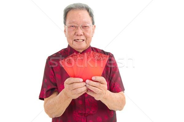 アジア シニア 男 を祝う 旧正月 肖像 ストックフォト © yongtick