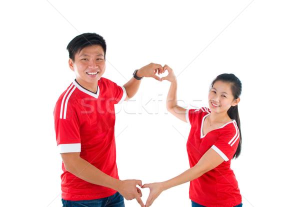 アジア カップル 心臓の形態 手 愛 ストックフォト © yongtick