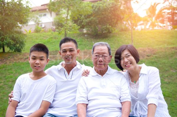 Stock foto: Chinesisch · Familienbild · Familie · entspannenden · Park · zusammen