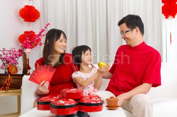 旧正月 アジア 家族 祝う 女性 子 ストックフォト © yongtick