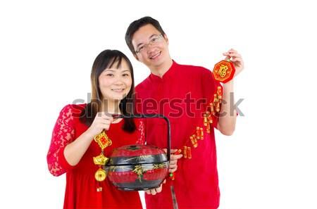Ano novo chinês asiático casal mulher fundo Foto stock © yongtick