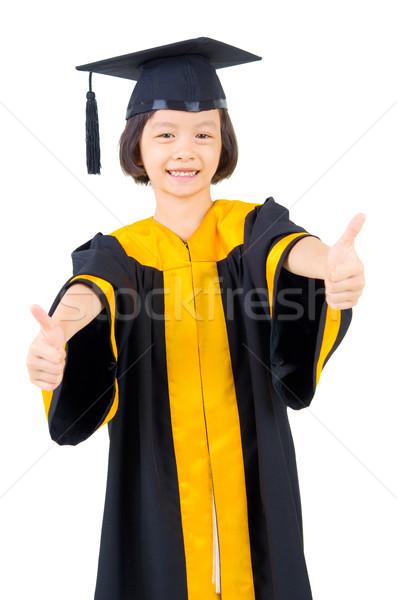 アジア 子供 卒業 ガウン 笑顔 学生 ストックフォト © yongtick