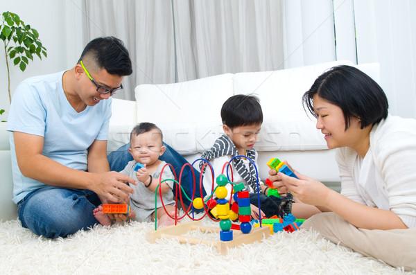 アジア 家族 演奏 おもちゃ 男 幸せ ストックフォト © yongtick