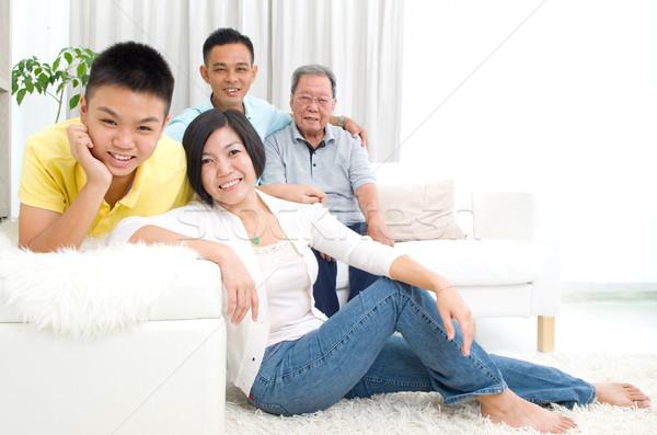 アジア 世代 家族 肖像 美しい ストックフォト © yongtick