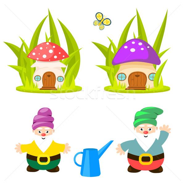 Forest gnomes and mushroom houses vector. Stock photo © yopixart