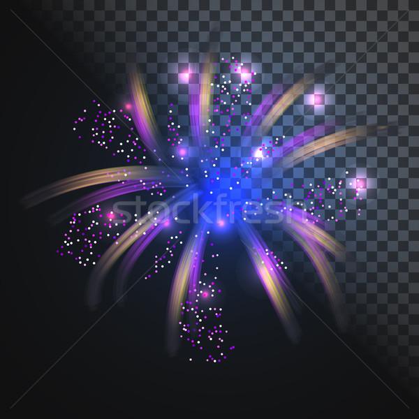 Festive blue firework vector with glowing sparkles. Stock photo © yopixart