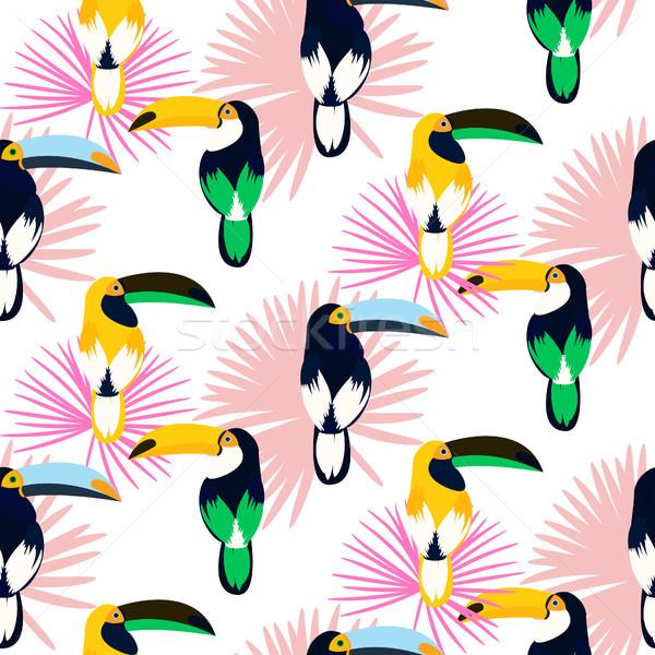 Tropic light pink plant leaves and toucan bird seamless pattern. Stock photo © yopixart