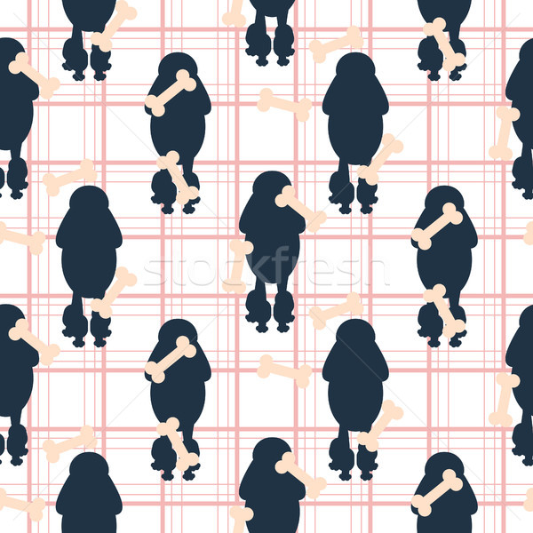Poodle dog silhouette seamless vector checkered pattern. Stock photo © yopixart