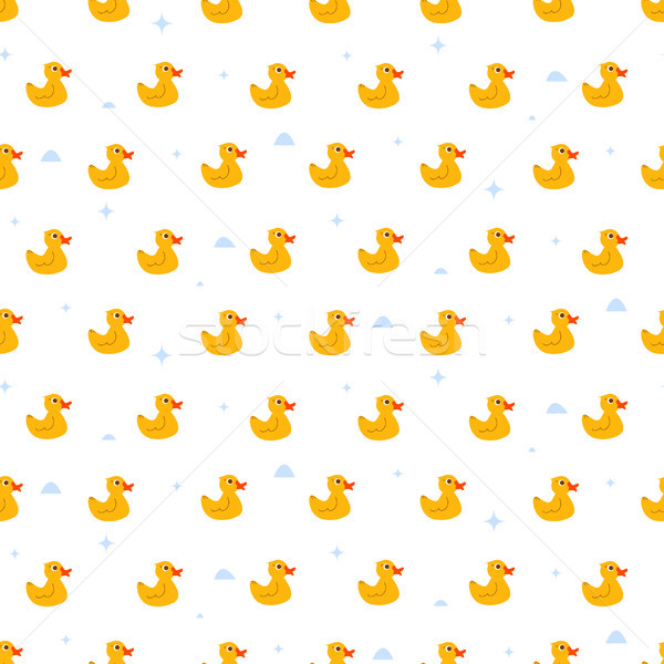 Cute ducky floats on pond seamless vector pattern. Stock photo © yopixart