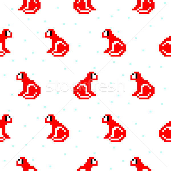 Rosso scimmia cartoon pixel arte Foto d'archivio © yopixart