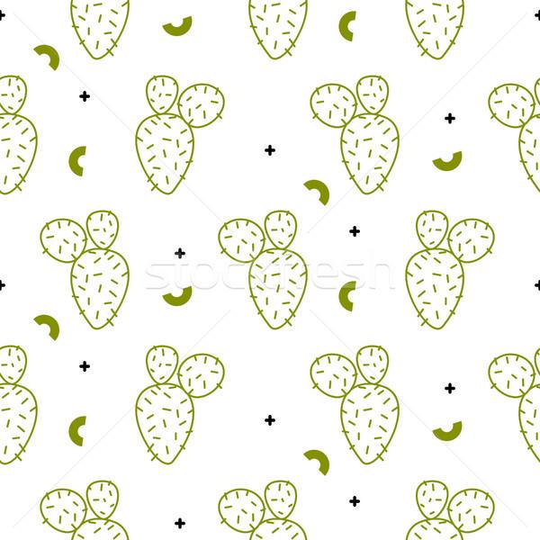 Kaktusz egyszerű zöld vonal stílus vektor Stock fotó © yopixart
