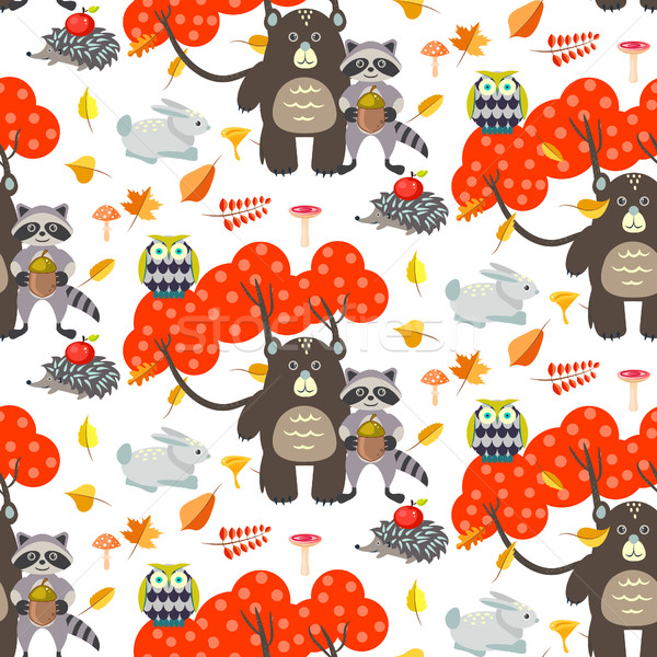 Forest cartoon animals autumn white seamless pattern. Stock photo © yopixart
