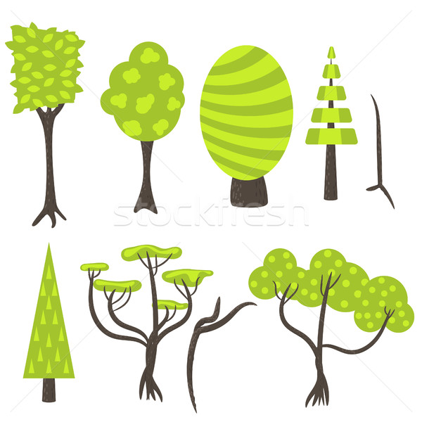 Vector tree clip art nature set. Stock photo © yopixart