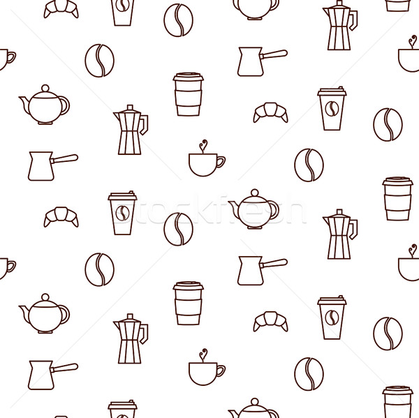 Coffee house line icons seamless vector pattern. Stock photo © yopixart