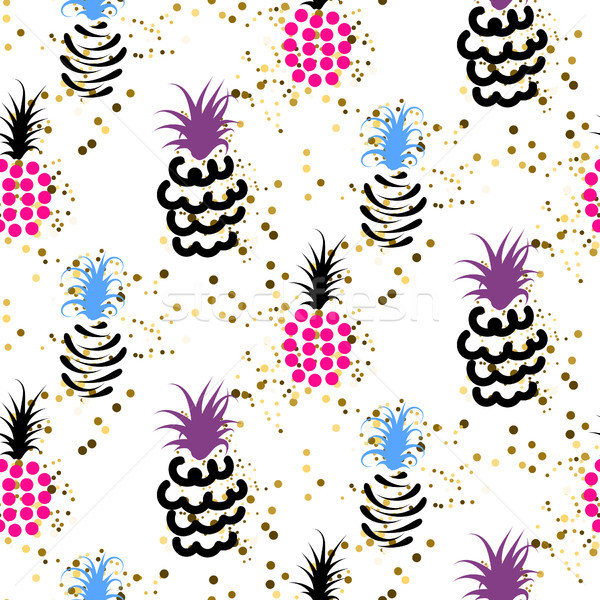 Abstract pineapple with gold glitter bright colors pattern. Stock photo © yopixart