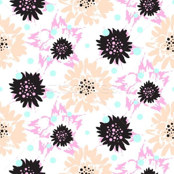 Ecsetvonások virágmintás végtelen minta vektor durva fehér Stock fotó © yopixart