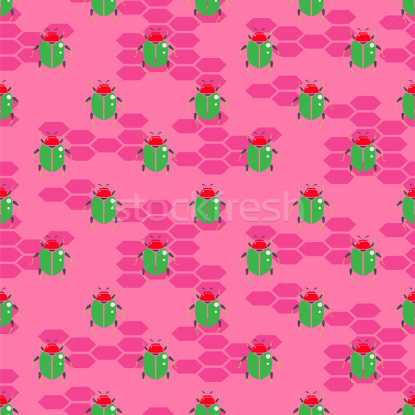 Green beetle on bright pink vector seamless pattern for print. Stock photo © yopixart