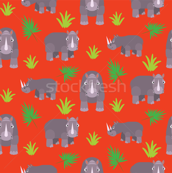 Rhino cartoon vector seamless red pattern. Stock photo © yopixart