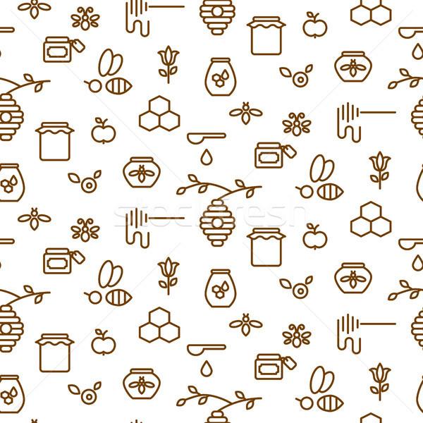 Beekeeping outline icon seamless vector pattern. Stock photo © yopixart