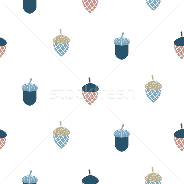 Blue scandi acorn simple seamless vector pattern. Stock photo © yopixart