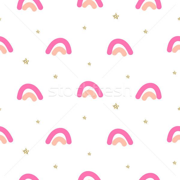 Abstrato bonitinho arco-íris sem costura vetor padrão Foto stock © yopixart