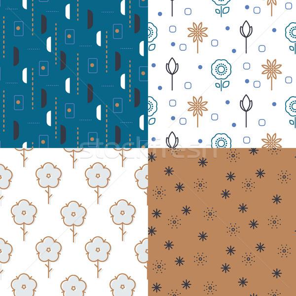 Meadow vintage flowers and geo seamless vector pattern set. Stock photo © yopixart