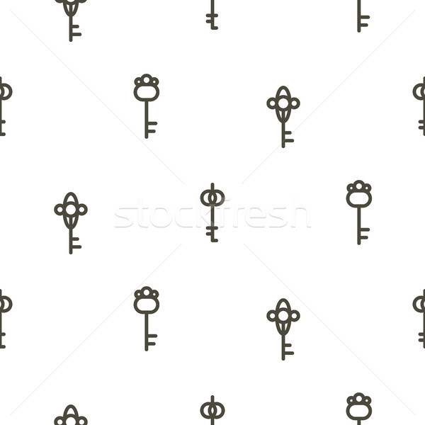 Silver keys seamless vector pattern on white. Thin simple style repeat design. Stock photo © yopixart
