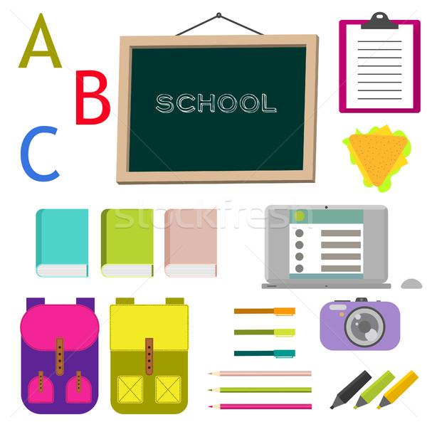 School supplies vector clip art objects. Stock photo © yopixart