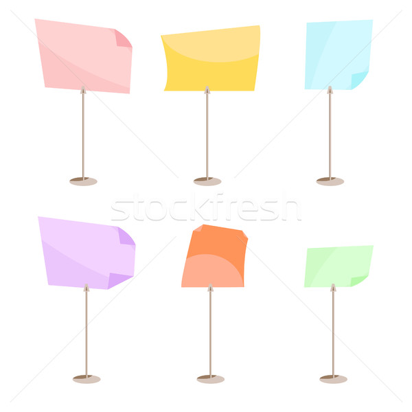 Set of pin for notes. Stationery clip vector. Stock photo © yopixart