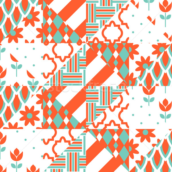 Red and green patchwork pattern. Stock photo © yopixart