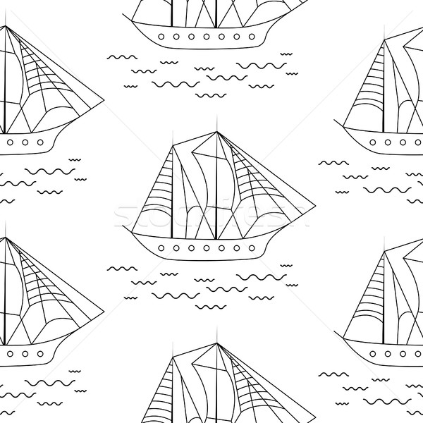 Sailing boat seamless outline vector pattern in doodle style. Stock photo © yopixart